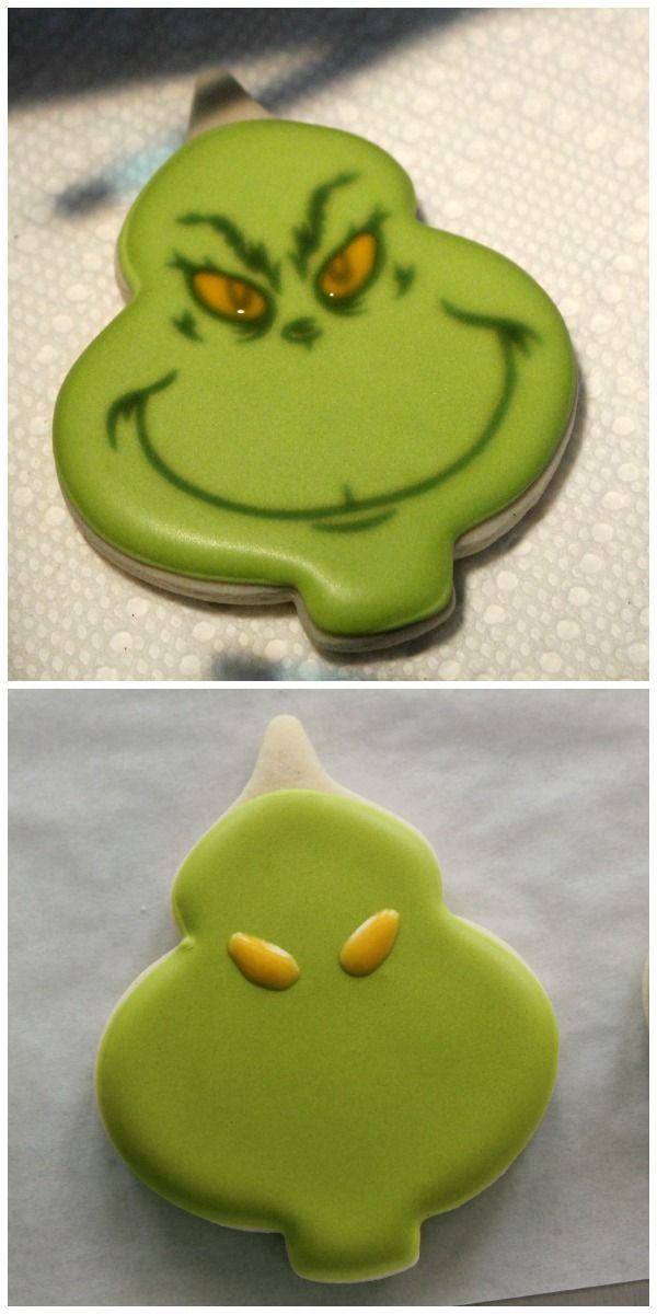 @lindaneumann We should try to make these this year for Christmas. It looks like it is just using the usual ornament cookie cutter #grinchcookies