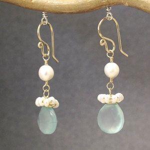 Ivory Pearls & Sea Blue Chalcedony drop earrings Victorian 322 by CalicoJunoJewelry on Etsy https://www.etsy.com/listing/225263136/ivory-pearls-sea-blue-chalcedony-drop