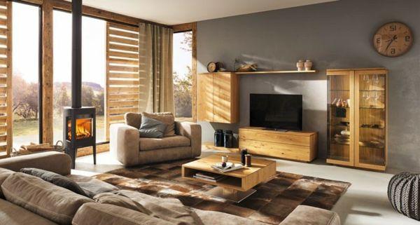 moderne möbel und graue wandfarbe im wohnzimmer - Wohnzimmer ...