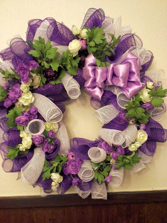 Everyday Spring Burlap Mesh Wreath Purple Flowers