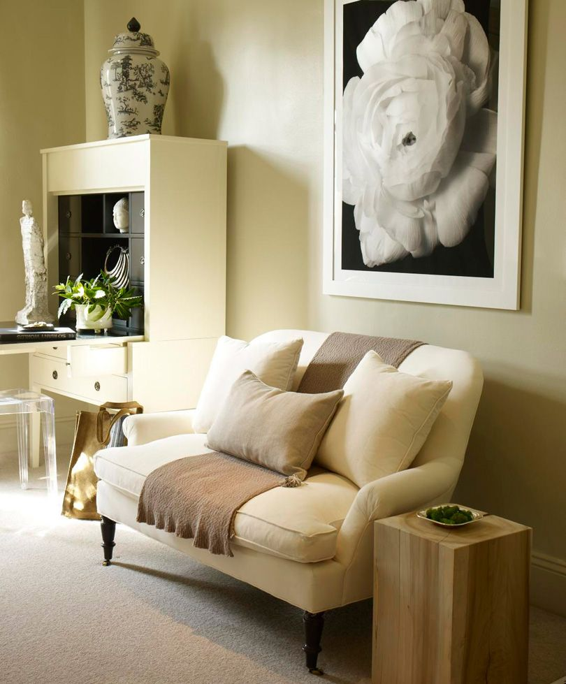 beige bedroom seating area loveseat styling | nude.. | Pinterest ...