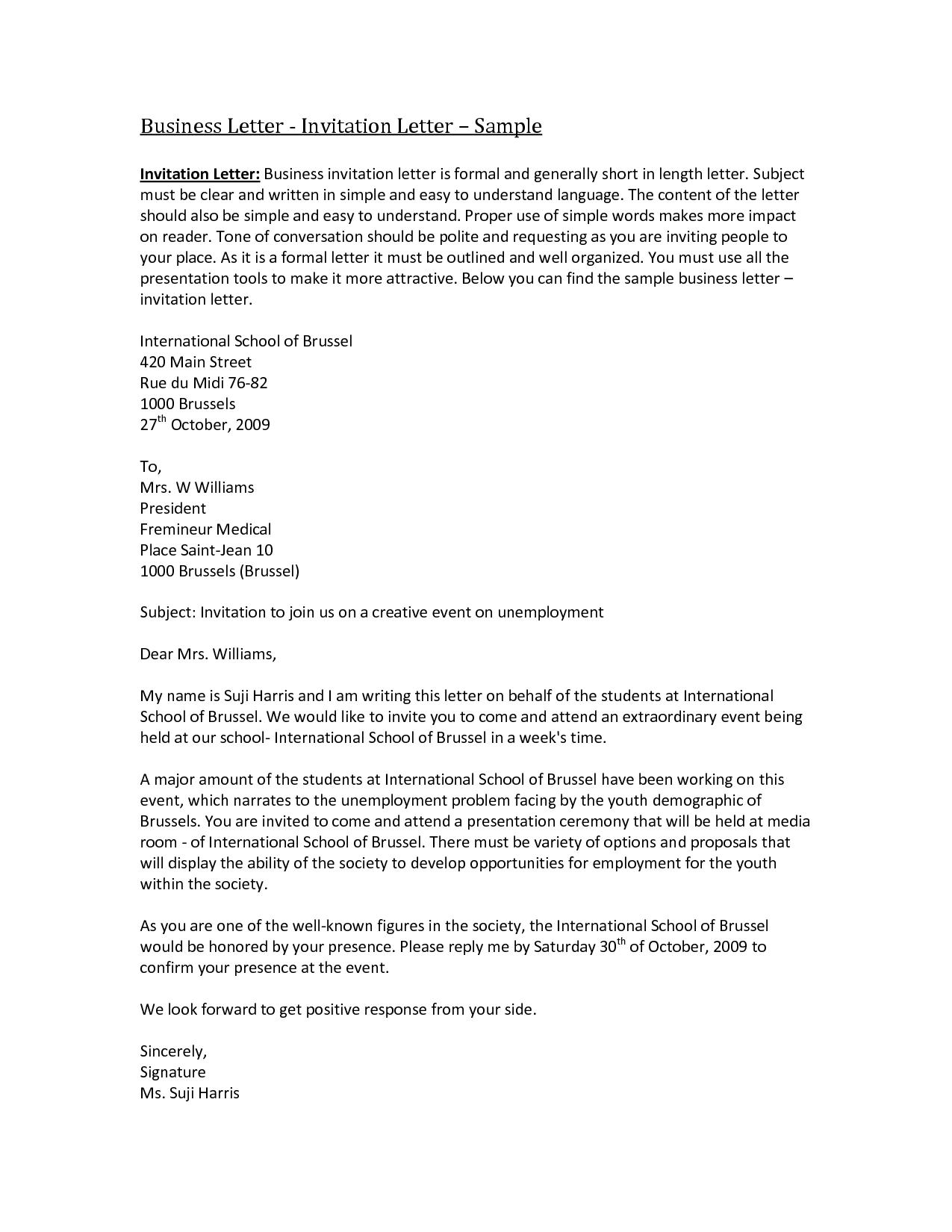 Letter business invitation sample letters writing professional letter business invitation sample letters writing professional best free home design idea inspiration stopboris Choice Image