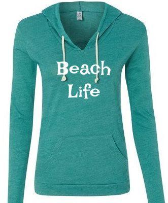 Beach Life lightweight hoodie Alternative Brand eco hoodie