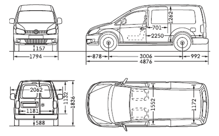 VW Caddy Maxi Panel Van Dimensions