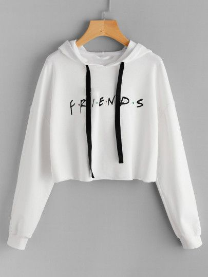 2f377e4dbf53 Friends Print Drop Shoulder Raw Hem Hoodie. Friends Print Drop Shoulder Raw  Hem Hoodie Crop Top Sweater ...