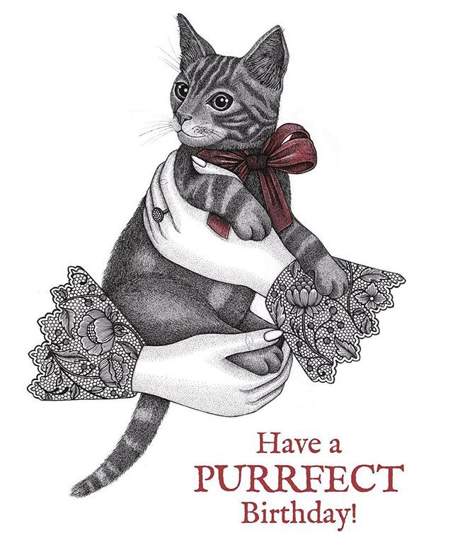 Happy Friday, my Victorian Kitty print now comes in Birthday card - birthday cards format