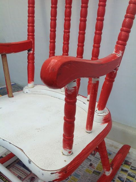 Sensational Little Red Rocking Chair Before And After Red Rocking Ncnpc Chair Design For Home Ncnpcorg