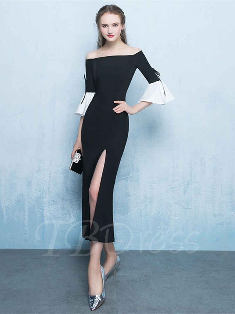 Sheath offtheshoulder length sleeves splitfront tealength
