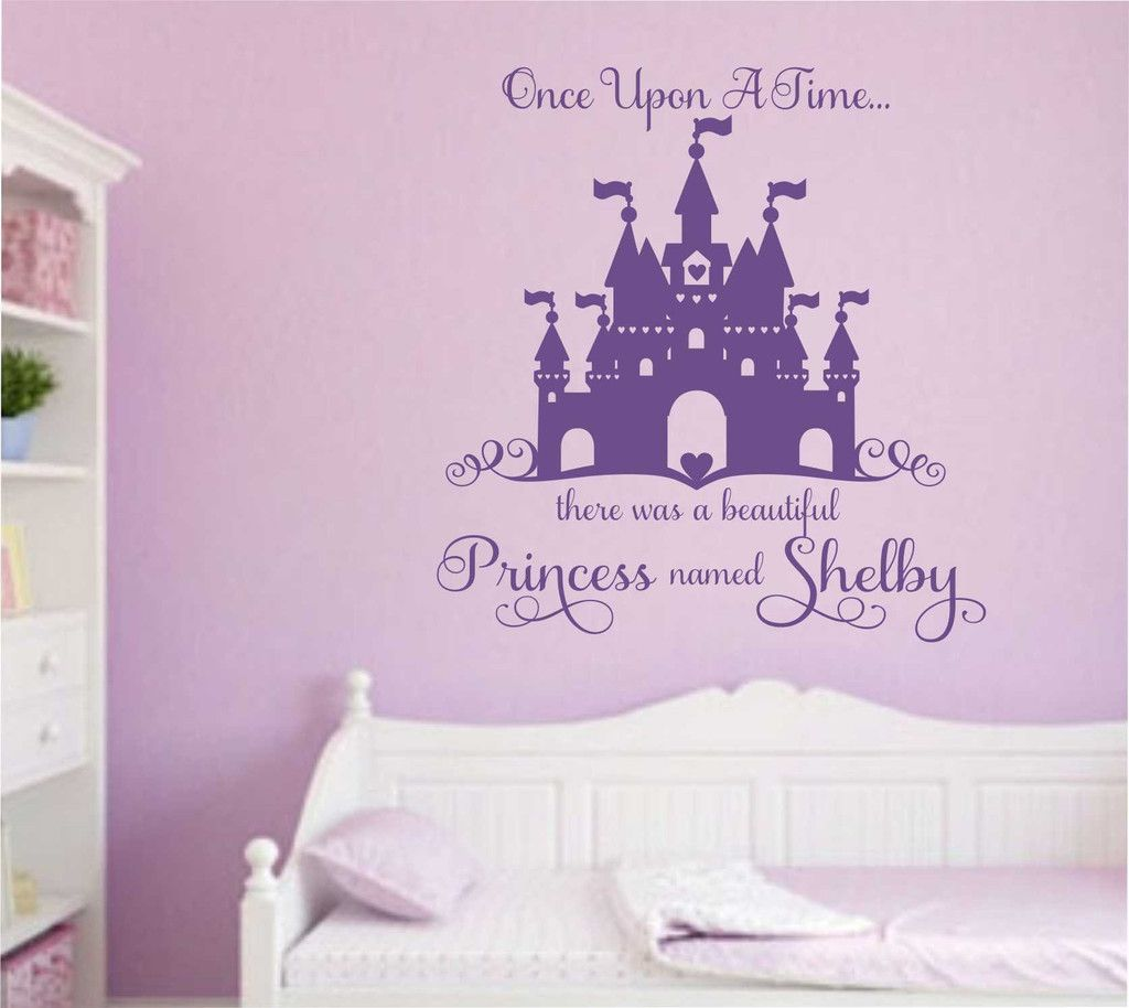 Vinyl Wall Lettering Once Upon a Time Beautiful Princess Name Castle Decal