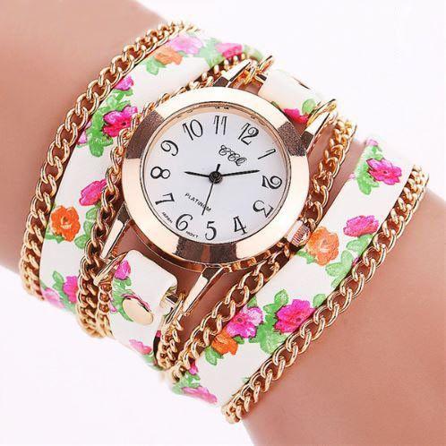 Flower Leather Bracelet Watch