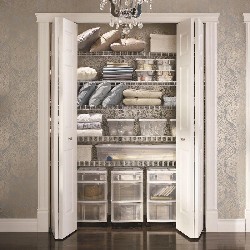 A Well Organized Hall Closet. We Love The Drawers At The Bottom!