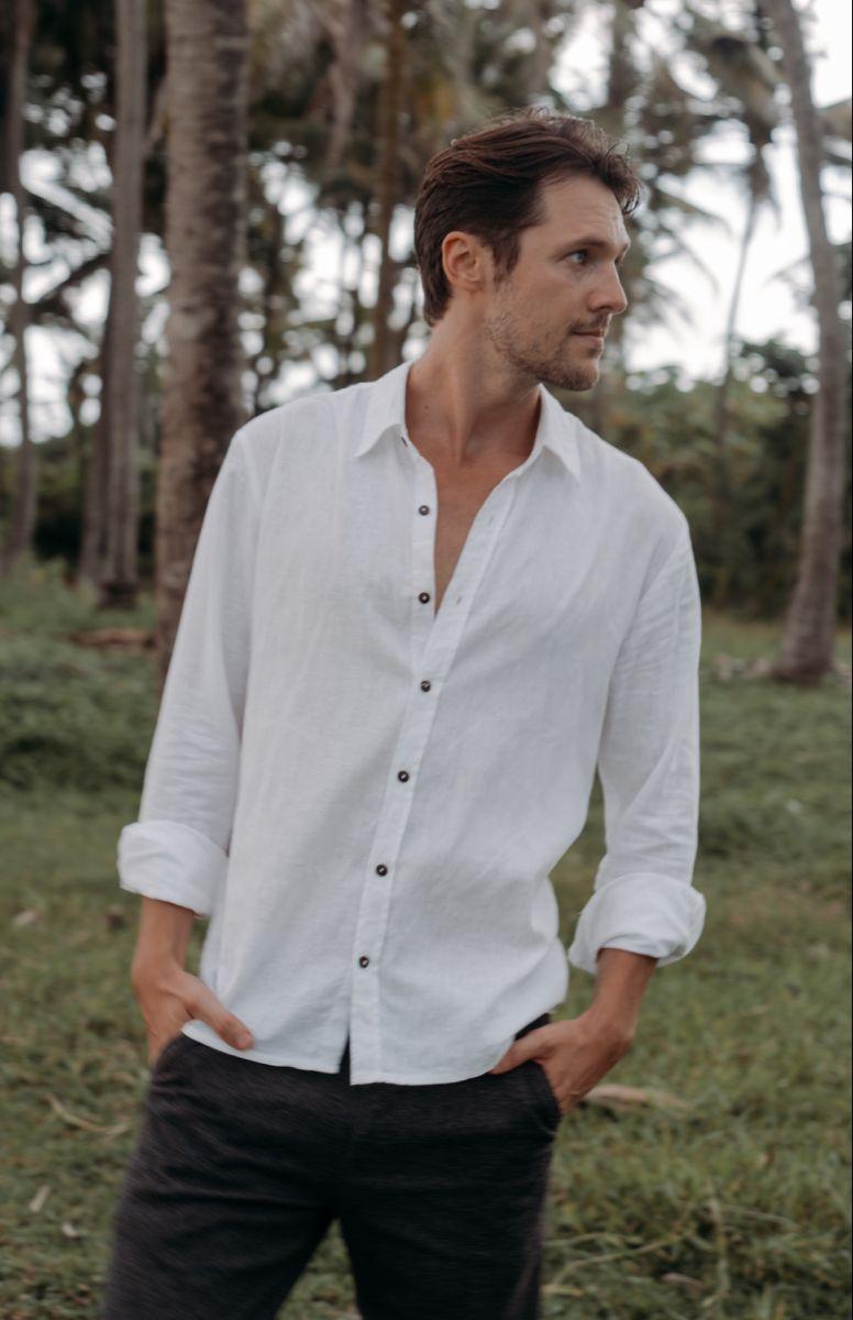 Mens Summer Casual Cotton Linen Shirts Buttons Up Long Sleeve Solid Plain Beach Shirts Linen Shirt Men Linen Shirt Mens Shirts [ 1200 x 776 Pixel ]