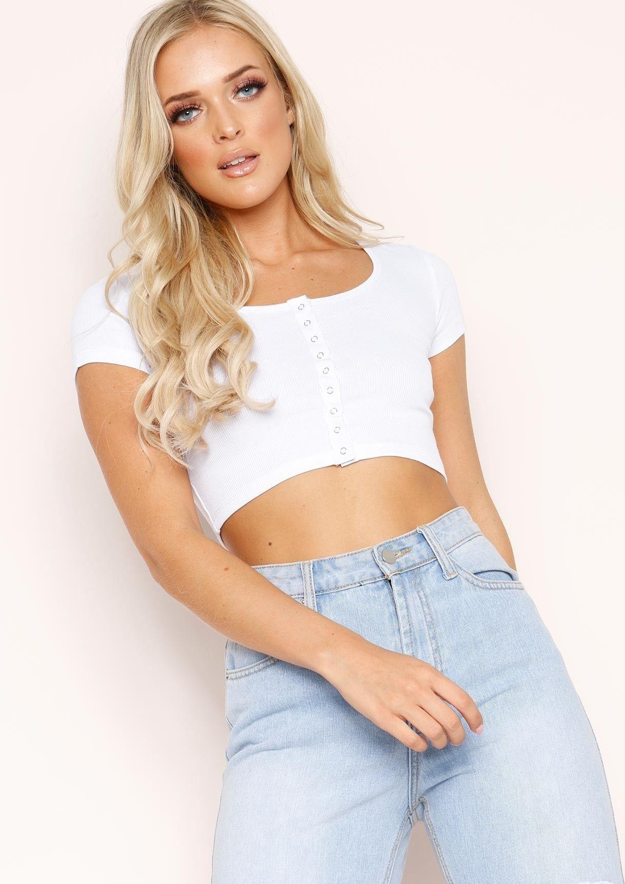 337ab1883e2a3 Missyempire - Livia White Button Crop Top