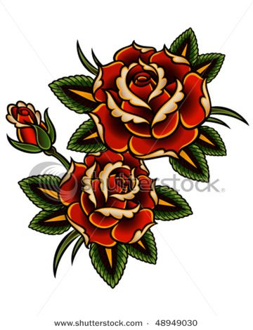 Double Rose Vintage Rose Tattoos Traditional Rose Tattoos Vintage Tattoo