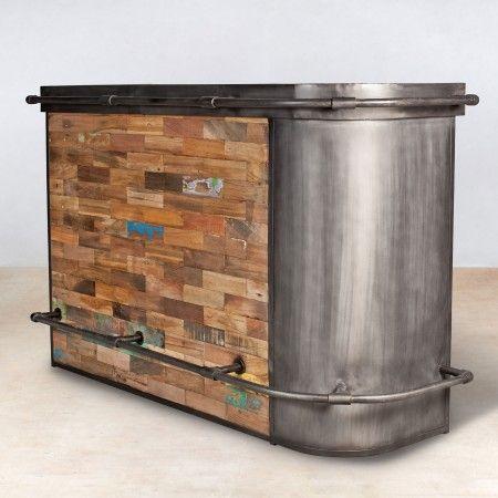 Bar Coin Droit Bois Recycles Bateaux 1 Meuble Bar Mobilier De Salon Bois Recycle