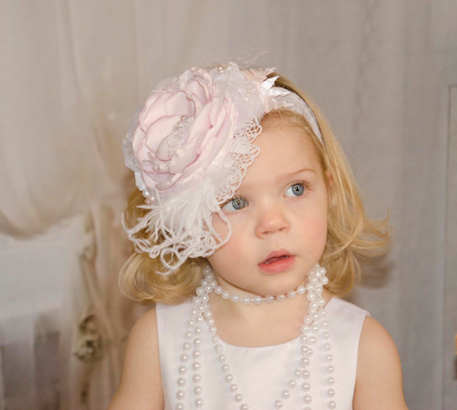 Baby Curly Feather Headband Headband Fancy Wedding Christening Blessing