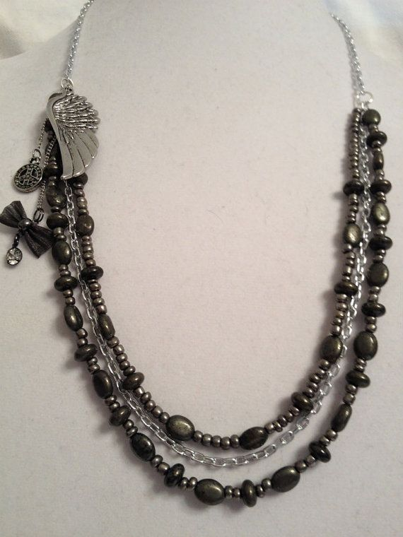 Rocker Necklace with Pyrite Beads and a Pendant by HeavyMetalGlam, $30.00