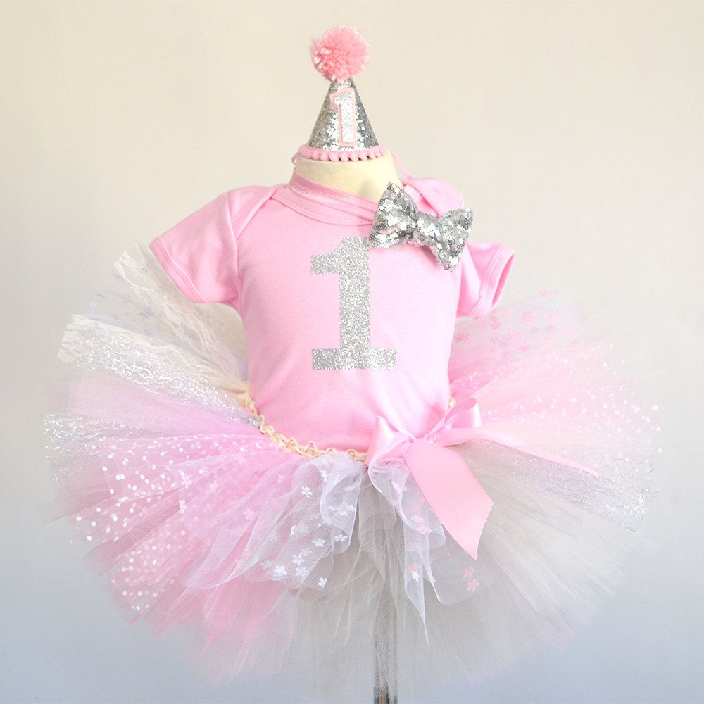 Pink silver first birthday outfit, pink silver tutu, pink