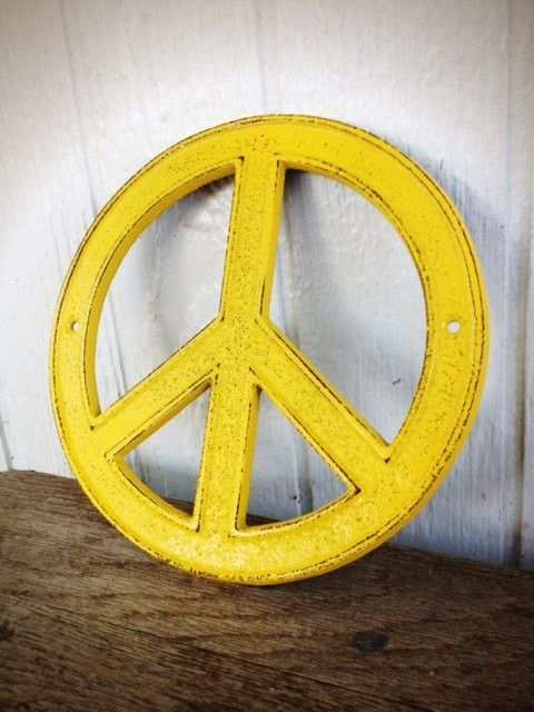Sunny Yellow Peace Sign - Cottage Chic Retro Cast Iron Wall Art ...