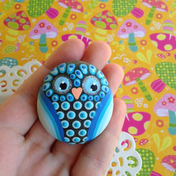 Hand Painted Owl Stone Paperweight in Blue Hues