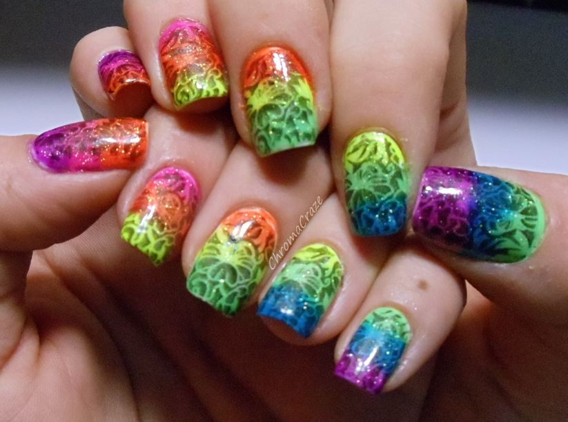 crazy nails | Amazing Crazy Cool Rainbow Neon Nail Art Designs For ...