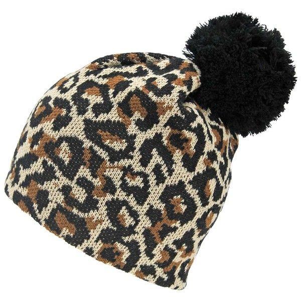 eca1da4e Beige & Black Leopard Print Winter Knit Beanie Cap Pom-Pom Hat ($20 ...