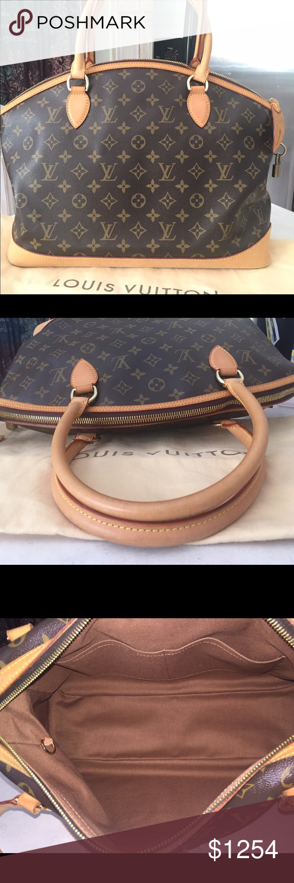 Lockit Louis Vuitton GM Monogram Shoulder Bag Authentic Lockit Louis Vuitton Horizontal Handpurse Monogram GM. Datecode AR0056 Manufactured in France Month of May Year 2006. The interior is clean and smells clean besides leather or vachetta smell. The exterior in great condition light patina and sturdy bronze/gold plated hardware. It has water marks on the bottom of bag besides that the bag perfect condition. It comes with Dust bag  key is missing for padlock but it's manageable. This Bag…
