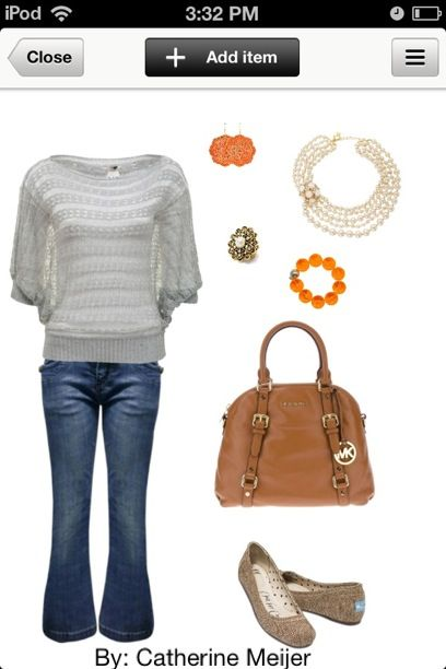 Gray top with orange accessories