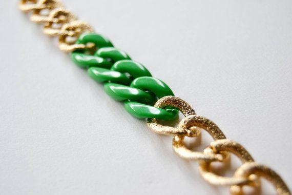 Braccialetto catena verde e oro di Morositashop su Etsy, €6,00  #bracelet #etsy #jewelry #handmade