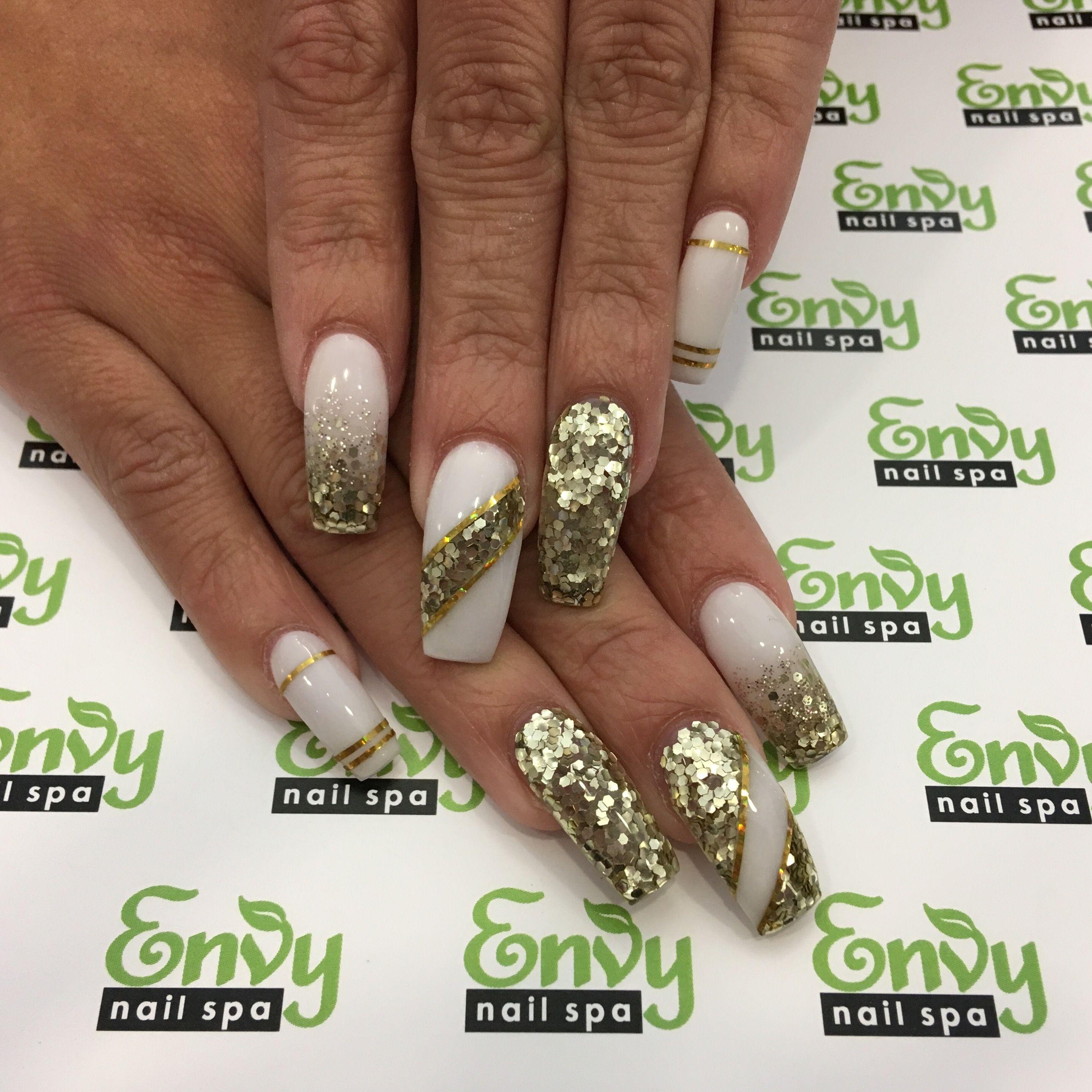 Gold Glitter, White, Fading, Stripe Nails - Envy Nail Spa | Nails ...