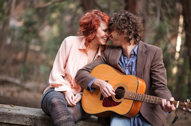 2 musicians get engaged ~ sweet, simple, engagement shoot with a guitar