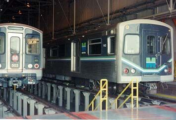 Miami Metrorail Cars in testing on the Los Angeles Metro Red Line, 1992.