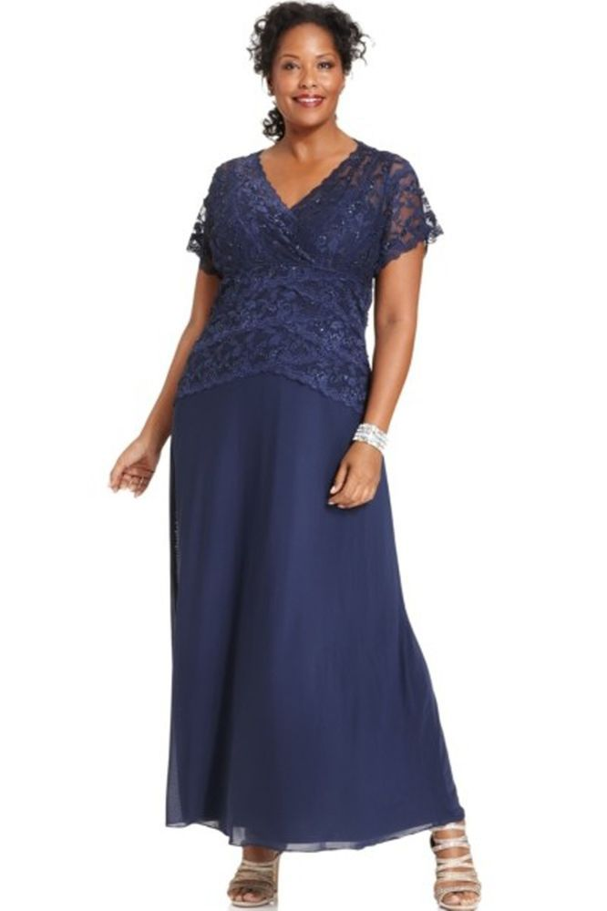 Marina Cap Sleeve Lace Gown Plus Size Dress Navy 20w Nwt 159