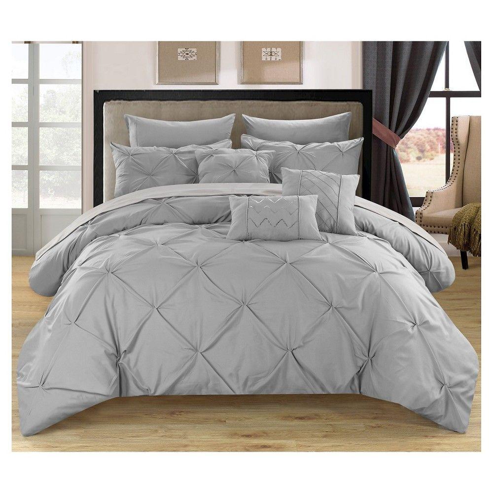 valentina pinch pleated & ruffled comforter set 10 piece (queen
