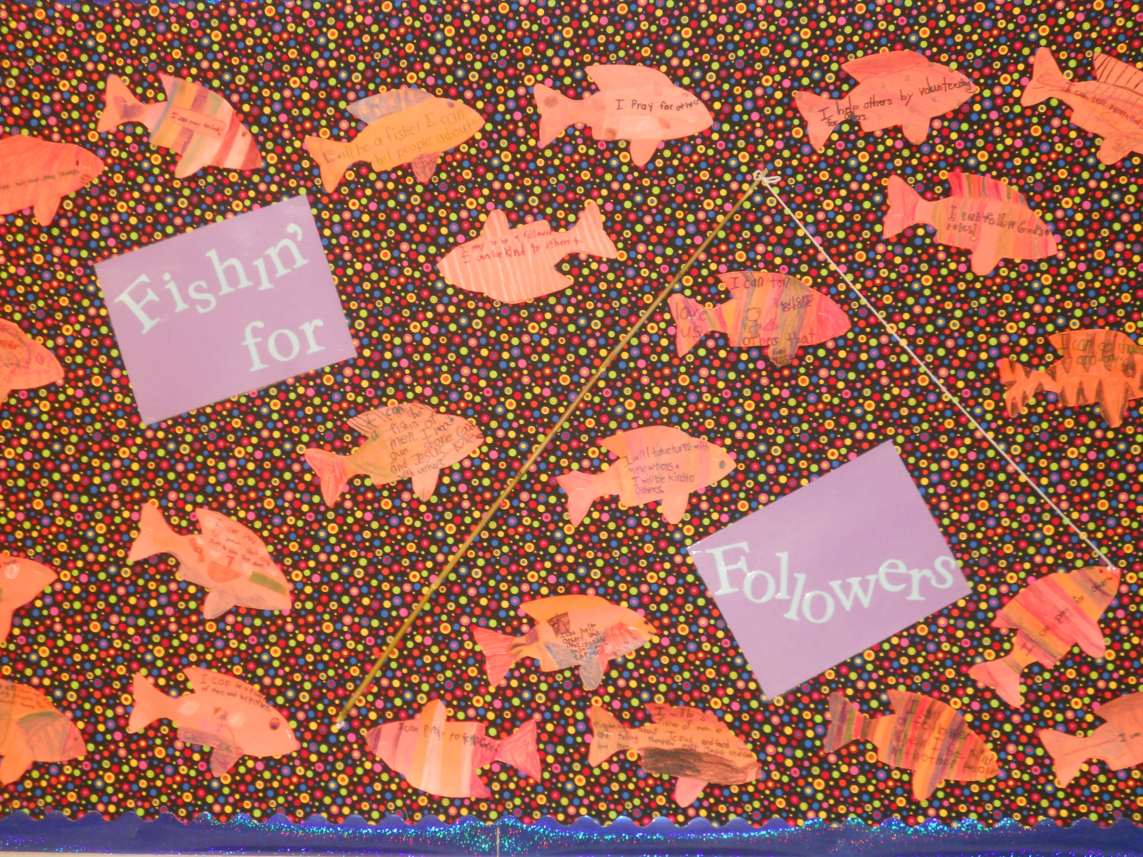 Fishin' for Followers bulletin board; fish include a way each student can be a good follower