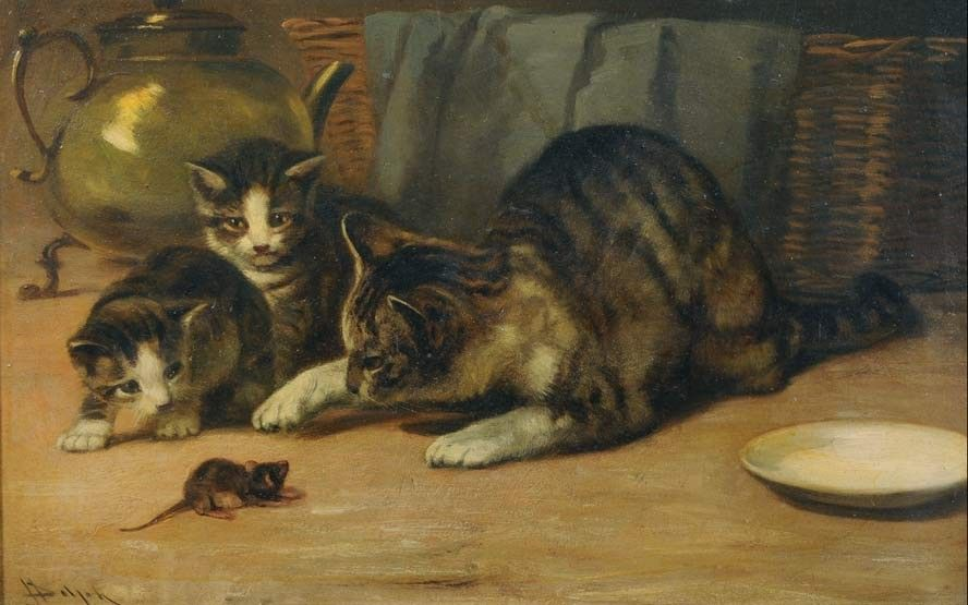 John Henry Dolph (American, - Playing Cat and Mouse - Oil on cardboard