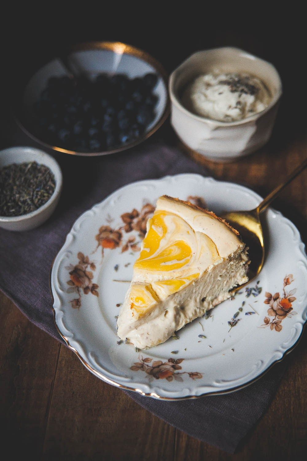 Lavender Lemon Curd Marbled Cheesecake. Lavender and lemon curd come together in a melt-in-your mouth Greek yogurt-based cheesecake, perfect for Spring!
