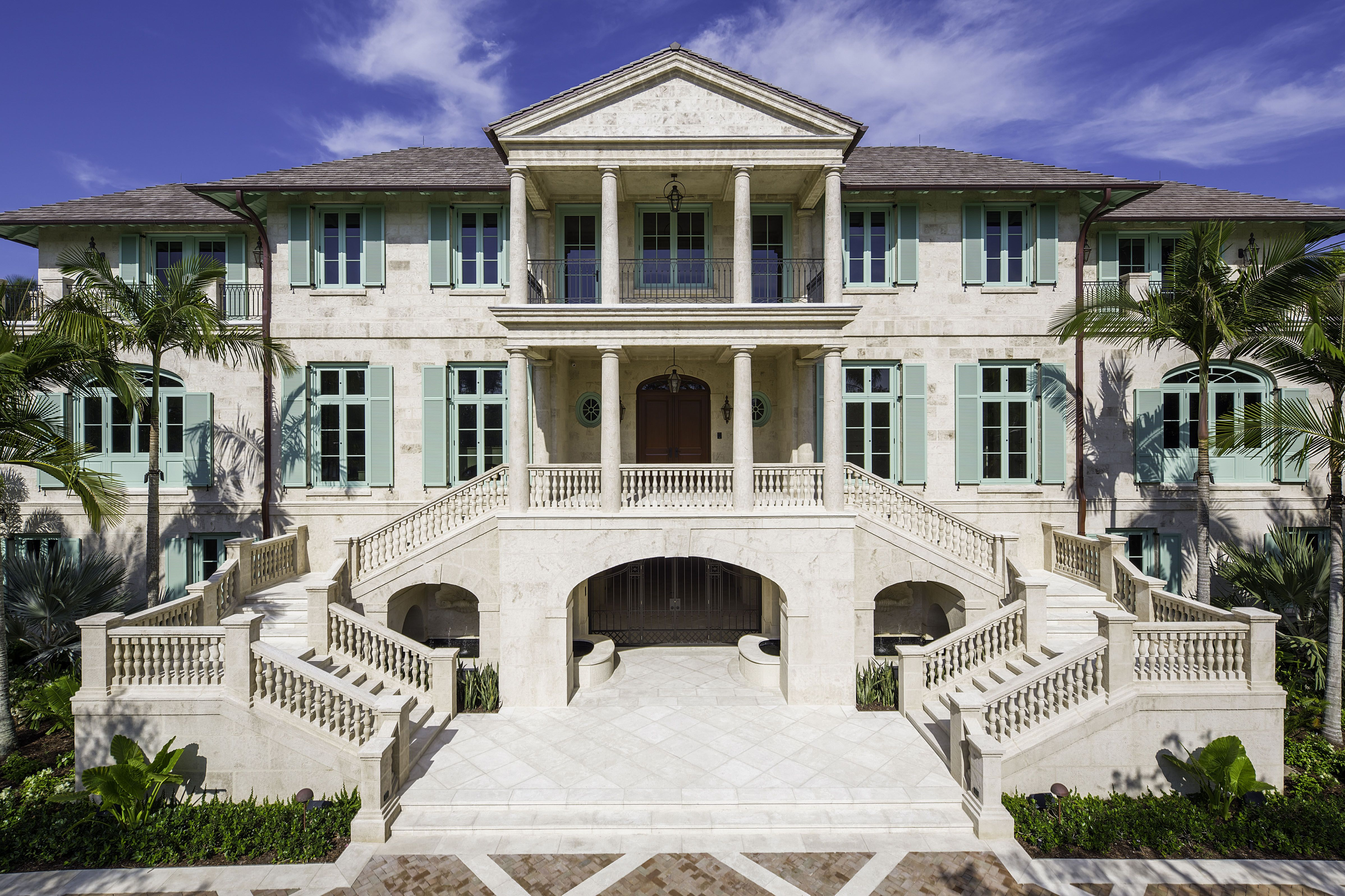Palatial Waterfront Estate In South Florida By Harrison Design Harrison Design British Colonial Mansions Homes