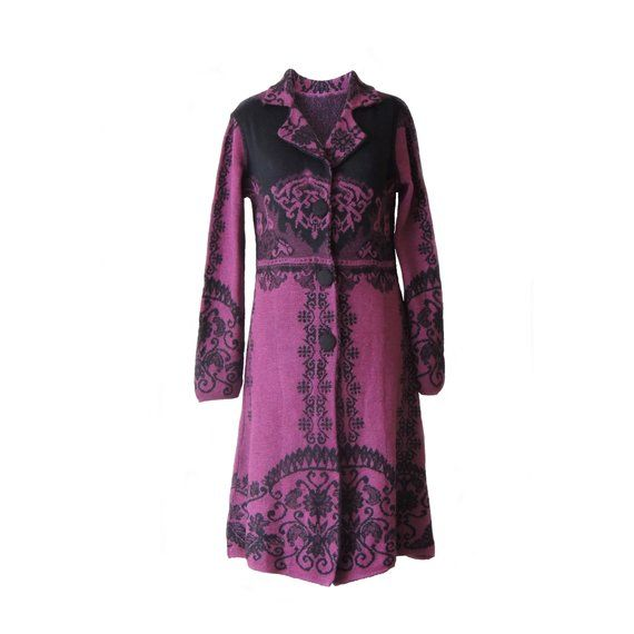 534752646 Ladies cardigan   coat jacquard knitted color barney with black ...