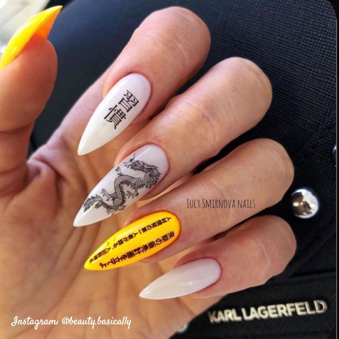 White And Yellow Chinese Dragon Acrylic Nails Model In 2020 Grunge Nails Dragon Nails Fire Nails