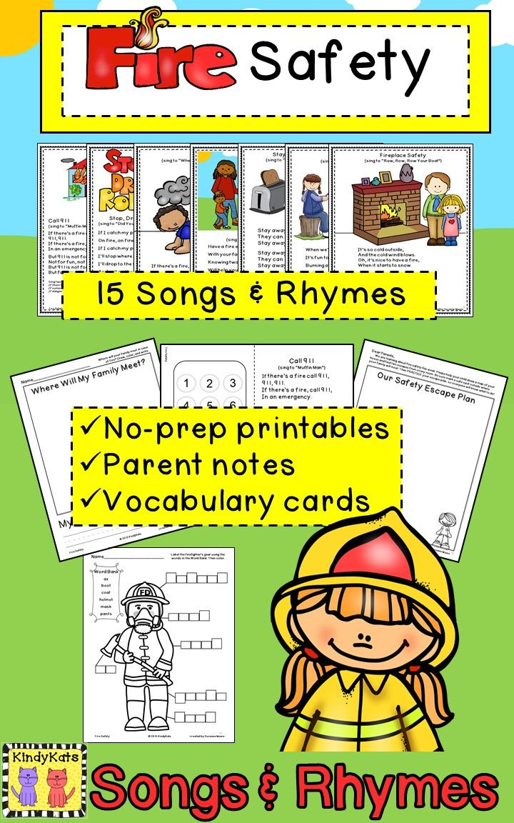 October Is National Fire Prevention Month These Adorable Songs And Rhymes Will Add Plenty Early Childhood Education Classroom Fire Prevention Vocabulary Cards [ 1152 x 720 Pixel ]
