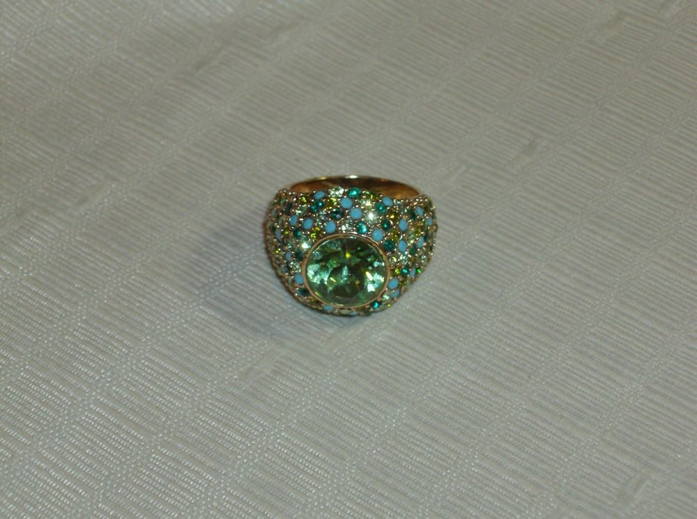 Kenneth J Lane Blue Green Crystal Domed Cocktail Ring 8 - 8.25 EUC Free Ship #KennethJayLane #Cocktail