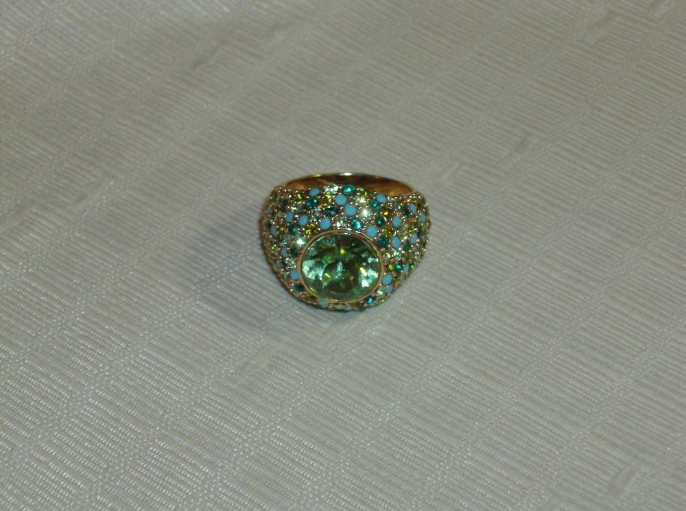 Kenneth J Lane Blue Green Crystal Domed Cocktail Ring 8 - 8.25 EUC Free Ship #KennethJayLane #Cocktail
