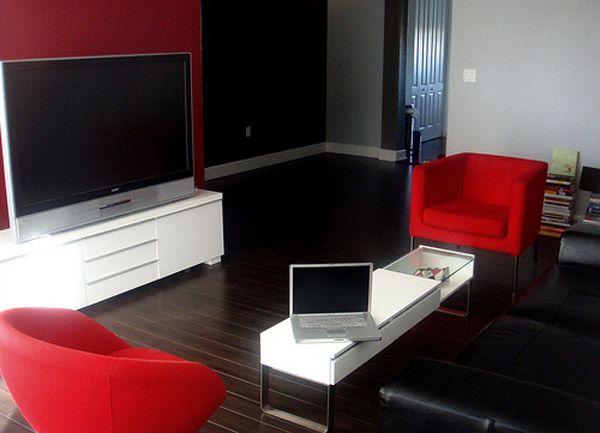 decoracion apartaestudios en rojo blanco y negro - Google zoeken - deco salon rouge et blanc