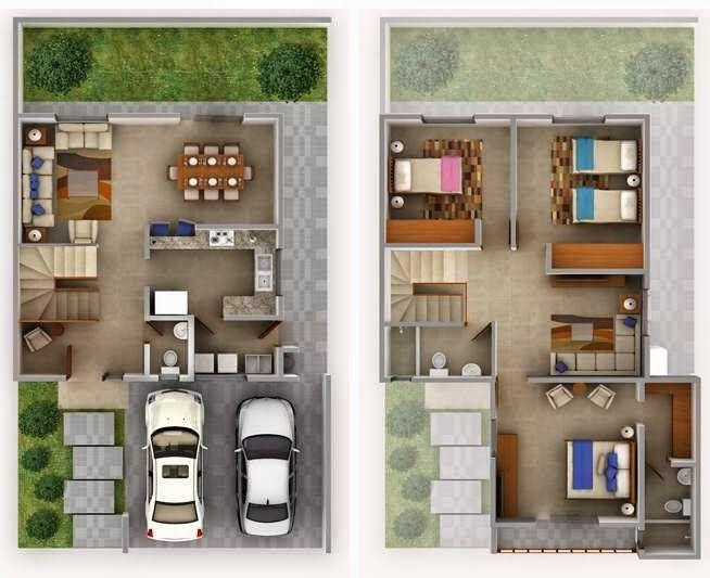 planos de casas de 2 pisos y 3 dormitorios economicas