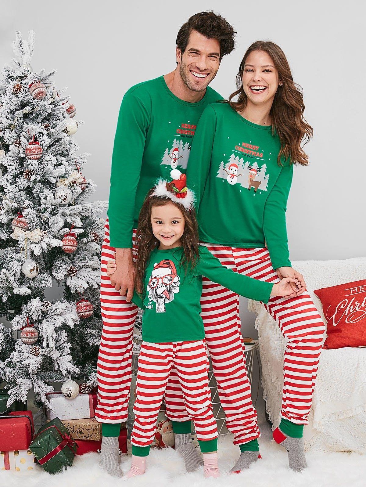 Snowman Deer Print Christmas Family Pajamas Pajamas