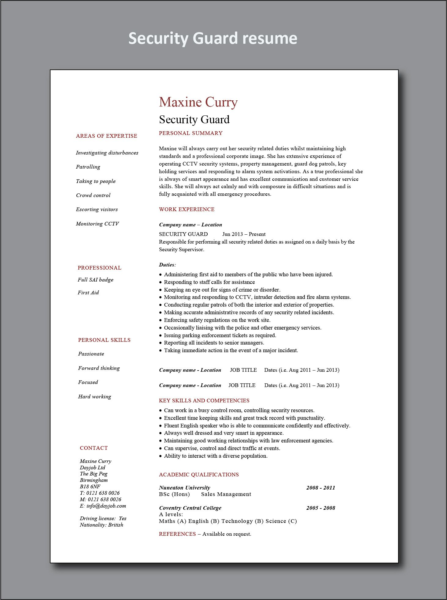 Security Guard Cv Sample Project Manager Resume Office Manager