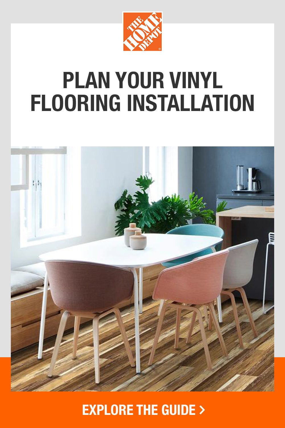 Planning your vinyl floors project just got easier with The Home Depot. Vinyl flooring is the perfect option to refresh your home without the cost of installation. This product is versatile, durable, and easy to install—making it a great option for home-improvers. Explore The Home Depot guide for the how-to basics and tools you will need to install your beautiful new flooring.