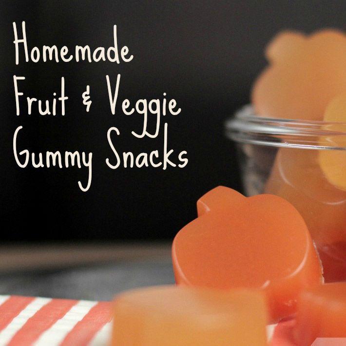 Homemade Fruit and Veggie Gummy Snacks.