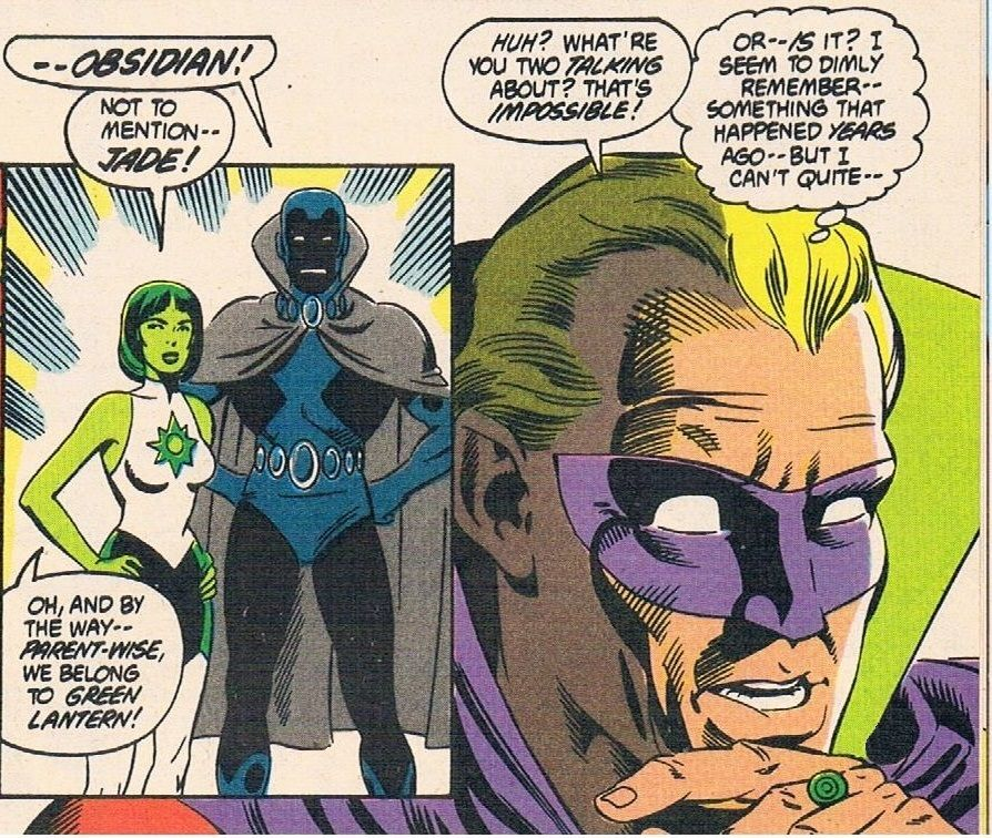 Infinity Inc characters, Jade and Obsidian, meeting Green Lantern. | Infinity inc, Comic book cover, Comic books
